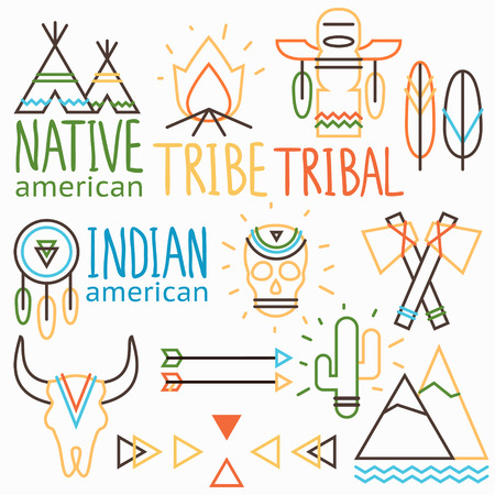 american indian aztec: Vector outline tribal labels set, native indian american symbols: human and animal skull, arrow, feather,  bonfire, cactus, wigwam, dreamcatcher, tomahawk, mountain