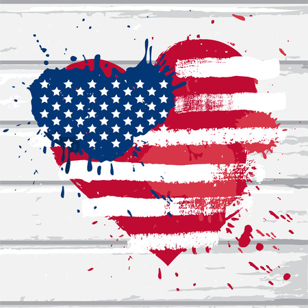 Vector USA flag in heart shape on white wood wall, illustration in grunge style