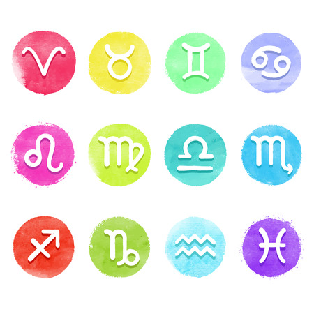 astrology signs: Watercolor vector horoscope icon set, white astrology signs on aquarelle colorful circles