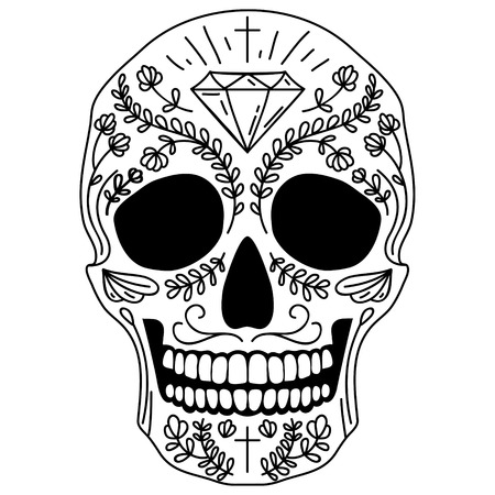 Black and white vector isolated Mexican sugar skull human head