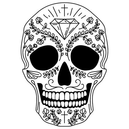 Zwart-wit vector geïsoleerde Mexicaanse suiker schedel menselijk hoofd