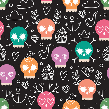 dead animal: Colorful vector background for day of the dead, fun hand drawn seamless pattern with skull and doodle elements: antler, diamond, cupcake, anchor, pipe, heart; childrens wrapping paper