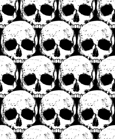 Vector death seamless pattern with white human skull on black background, design pattern in  grunge style