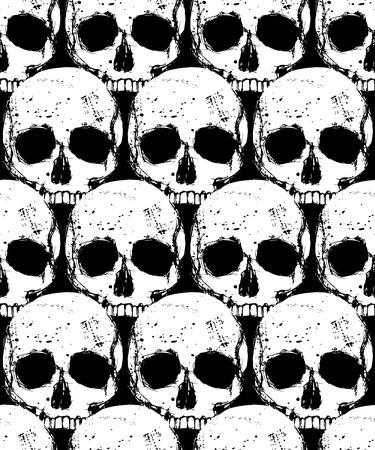 Vector dood naadloze patroon met witte menselijke schedel op een zwarte achtergrond, ontwerp patroon in grunge stijl