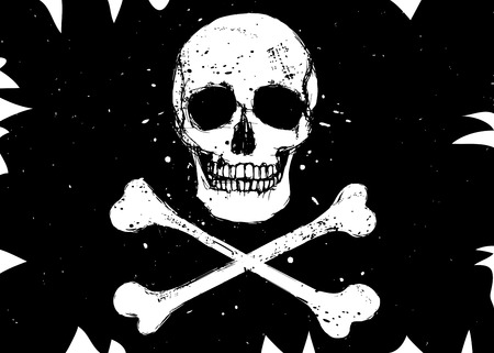 crossbone: Vector pirate black flag with white skull and crossbones, grunge style illustration