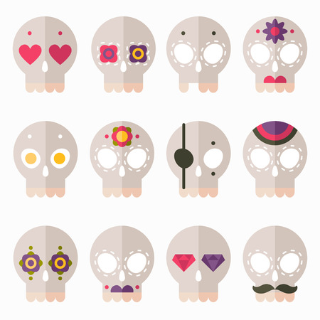 mustaches: Flat design style skull icon vector set, cute skulls for Day of the Dead or for Halloween