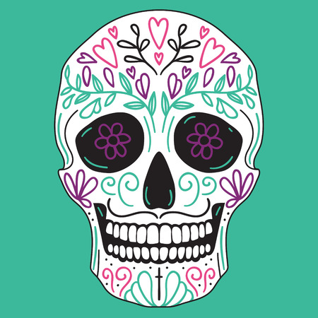 calavera: Mexican vector simple white sugar skull with floral decoration on turquoise background