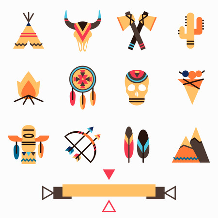 wigwam: Tribal indigenous icons set with ethnic american symbols: arrow and bow, feather, dream catcher, cactus, wigwam, tomahawk, animal and human skull