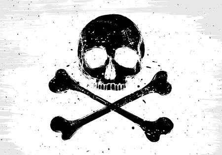 Pirate vector white flag with black human skull and crossbones, illustration in grunge design  style Vector
