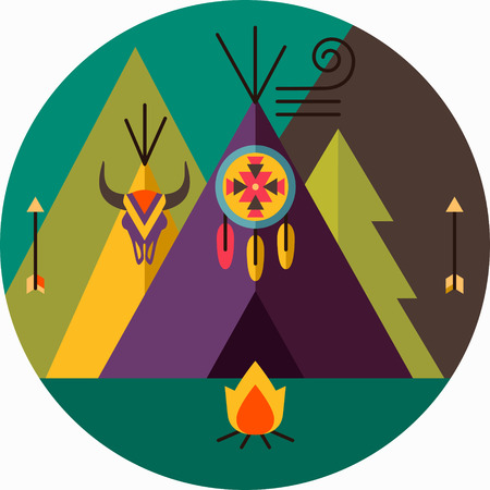 wigwam: Round tribal vector picture with wigwam, arrow, fir tree, animal skull, bonfire, dreamcatcher; native american  illustration Illustration