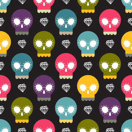 Cute skull vector colorful seamless pattern with namd drawn white diamond shape on a dark background Vector