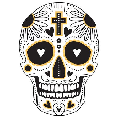 deces: Vecteur jaune et noir cr�ne isol� de sucre trditional mexicain, illustration pour le jour des morts