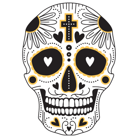 Yellow and black vector isolated Mexican trditional sugar skull, illustration for day of the  dead