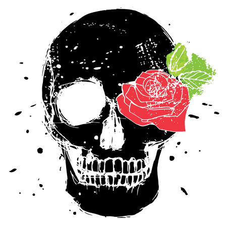 Black isolated skull with red rose and green leaves