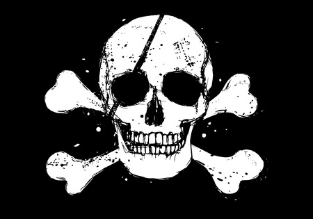 Black pirate flag with white grunge style human skull and crossbones Illustration