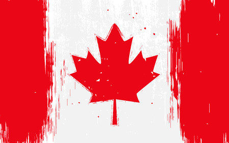 red maples: flag of Canada, Canadian flag in grunge style Illustration