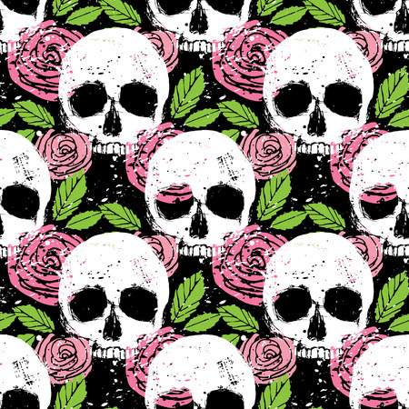 Colorful seamless pattern with white skull