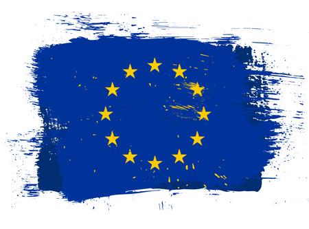 eu flag: EU grunge style bright isolated flag illustration