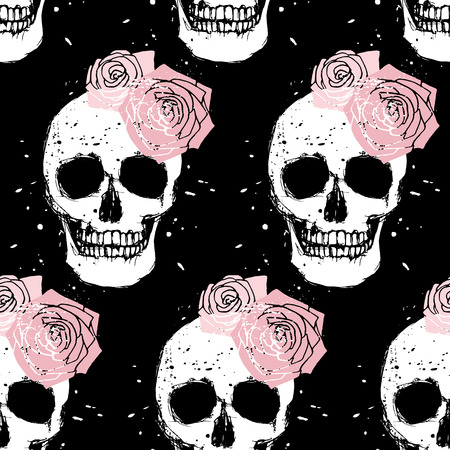 Grunge white skull and pink rose seamless pattern