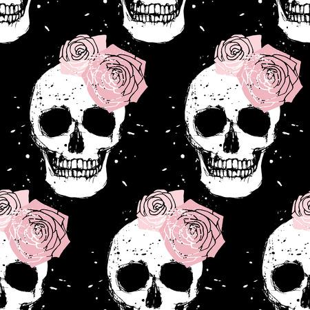 Grunge white skull and pink rose seamless pattern