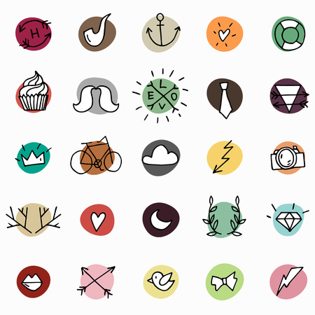 anchor man: Hipster icon set on bright colorful circles Illustration