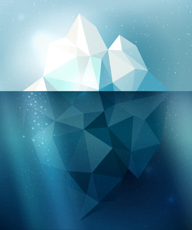 tip of iceberg: Underwater iceberg arctic snow illustration in blue and white colors Illustration