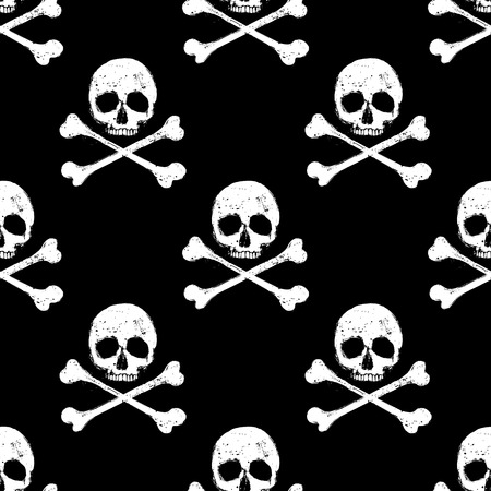 crossbones: White skull and crossbones seamless pattern on black background