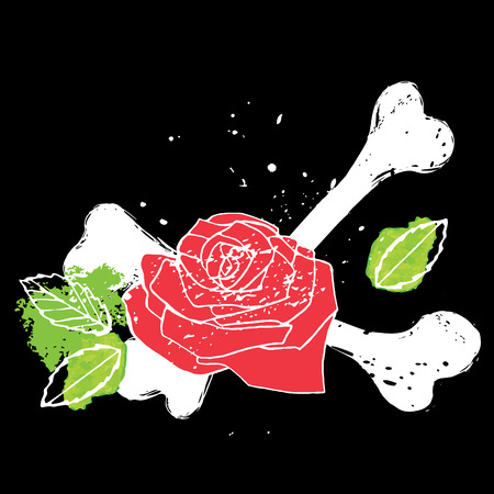 crossbone: Decorative element with red rose, green leaves and white crossbones, vector illustration