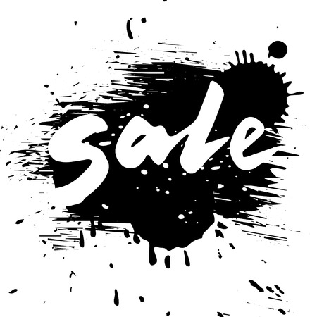 written text: Grunge sale, vector calligraphy word on grunge style black background, isolated illustration Illustration