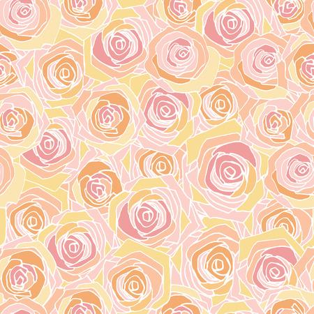 Eenvoudige roze, geel en wit overzicht roos patroon, naadloze vector achtergrond Stock Illustratie