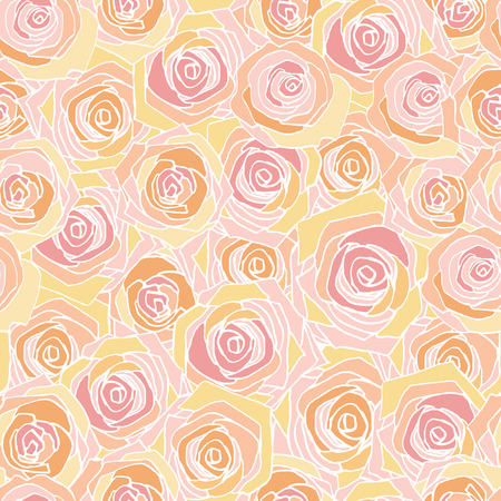 Simple pink, yellow and white outline rose pattern, seamless vector background