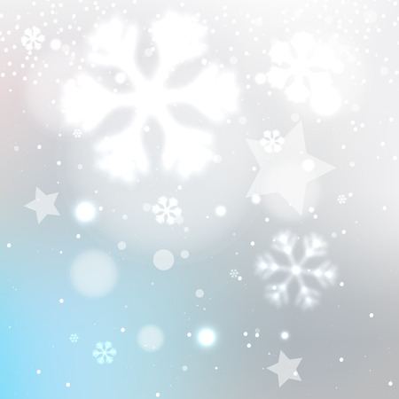 frosted: Snowy winter blurred background with stars and snowflakes, vector frosted gray illustration Illustration