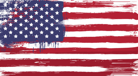 distressed texture: Vector USA grunge flag, painted american symbol of freedom