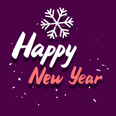italic: Happy New Year vector graphic congratulation card with calligraphy hand drawing italic message and snowflake on purple background Illustration