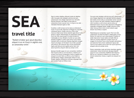 catalog templates: Vector travel brochure design with blue sea, sand, stones, white frangipani flower; modern  presentation template for travel tourism business; illustration on black wood background Illustration