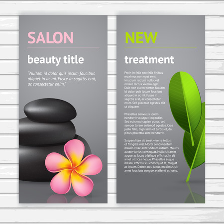 Spa advertisement flyer design template with realistic pink asian frangipani flower, green leaf and black stones, vector modern vertical card with sample text on white wood background Illustration