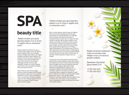 flyers: Modern spa beauty brochure design with realistic frangipani flowers, palm leaves and stones;  vector design template with sample text on black wood background