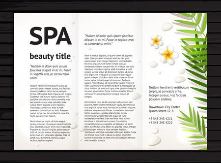 Moderne spa beauty brochure ontwerp met realistische frangipanibloemen, palmbladeren en stenen; vector ontwerp sjabloon met voorbeeld tekst op een zwarte houten achtergrond