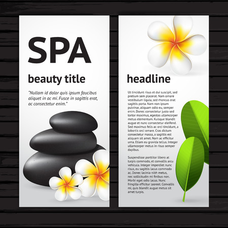 Vector modern spa flyer design template with realistic frangipani flower, green leaves and black  stones, vertical card on black wood background Vector
