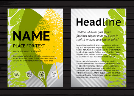 vector sample: Vector A4 size nature poster design template, two banners with colorful leaves and sample text  on black wood background