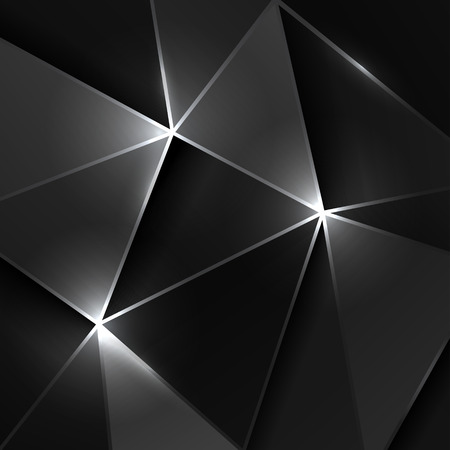 gray scale: Black triangle geometric shiny background, vector empty gray scale pattern