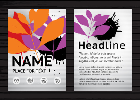 vector sample: Grunge two side flyer template, vector graphic design poster with colorful leaves and sample  text