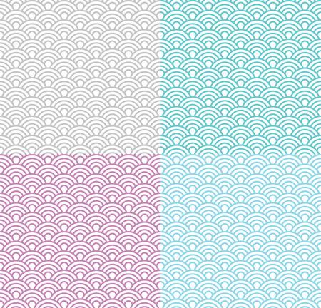 Geïsoleerd golf naadloos patroon set, vector eenvoudige achtergrond in Japanse stijl; verschillende kleuren Stock Illustratie