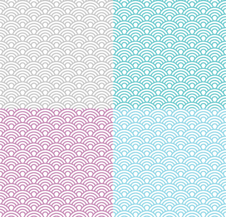 color pattern: Isolated wave seamless pattern set, vector simple background in japanese style; different colors