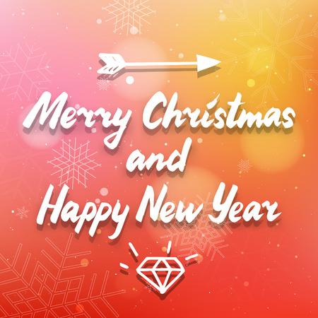 sumbol: Merry Christmas and Happy New Year calligraphy letters red and yellow card, cute colorful vector  lettering illustration with diamond, arrow and snowflakes Illustration