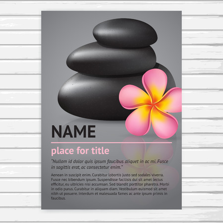 body massage: Vector spa salon poster A4 size with realistic pink frangipani flower and black stones; template  flyer design for beauty business; vector banner on white wood background