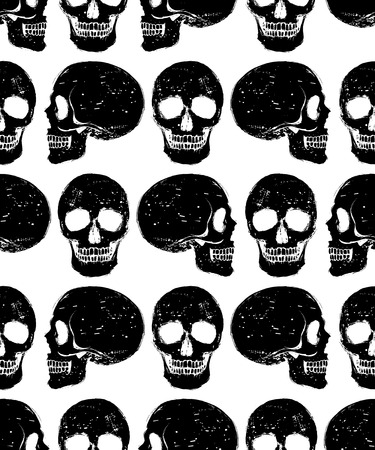 Black isolated grunge style human skull seamless background, vector pattern Vector