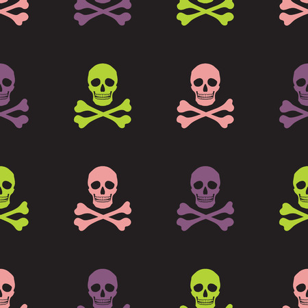 Simple human skull and crossbones seamless pattern, vector background Vector