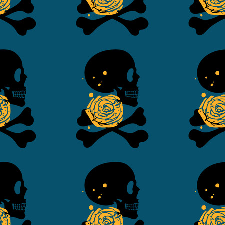 Side face human skull with rose seamless pattern on blue background, vector grunge illustration Vector