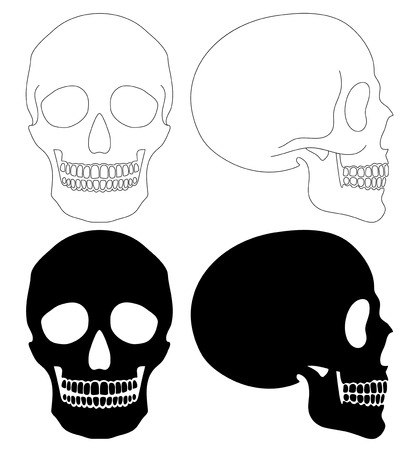 Different side and style human skull isolated set, simple outline and silhouette style